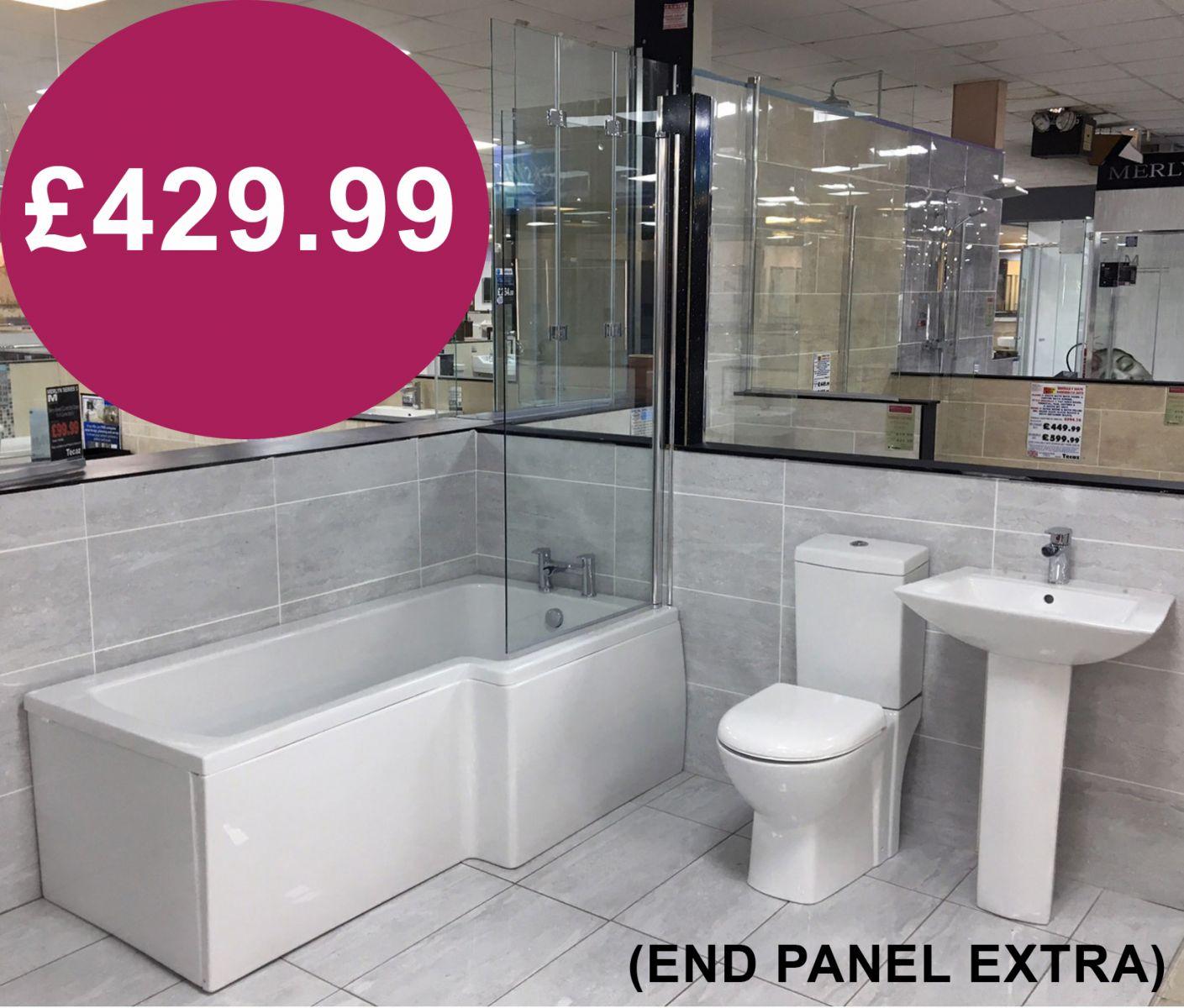 Tecaz bathroom suites - Showerbath Suite Including Screen Taps