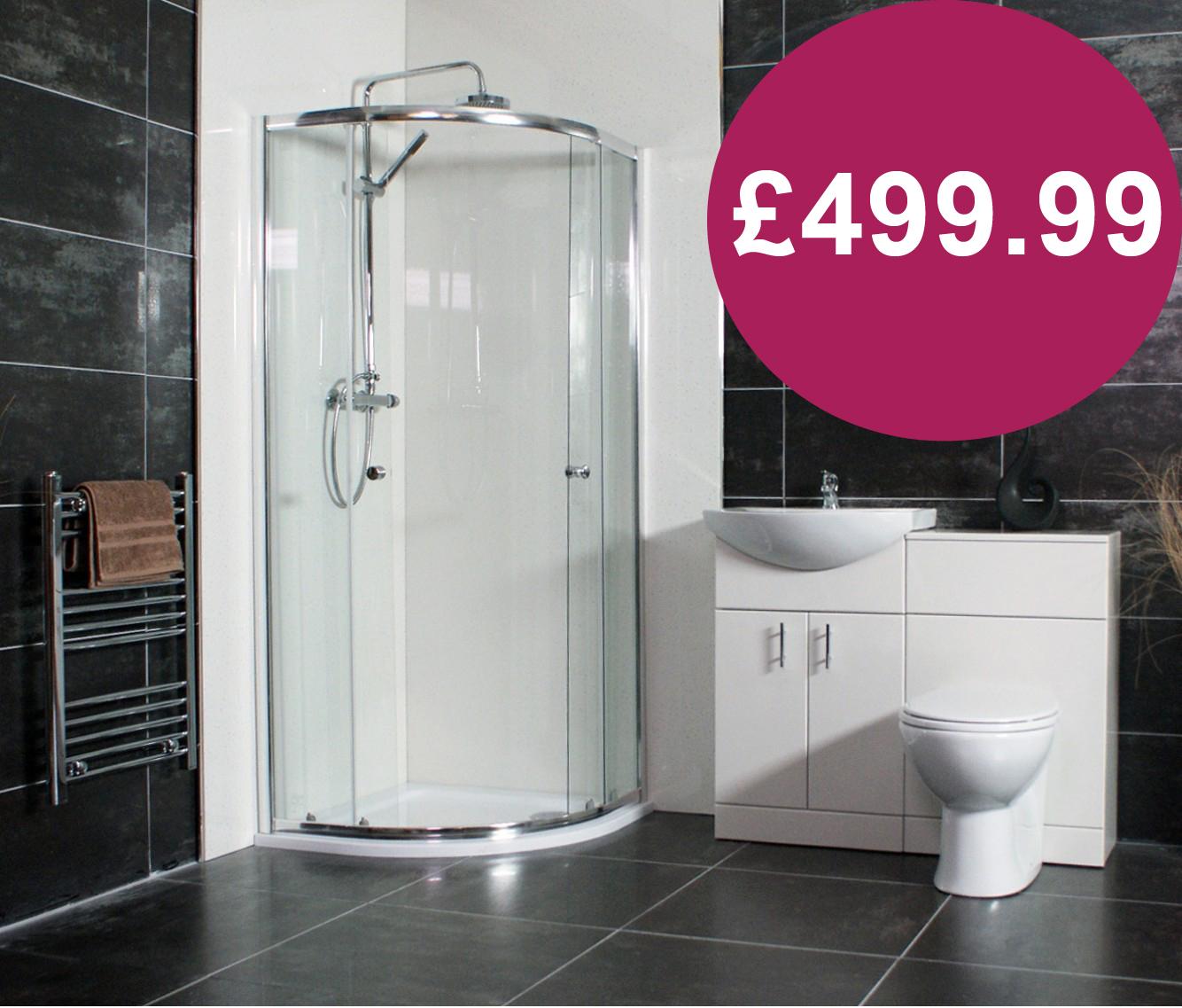 Tecaz bathroom suites - Complete Shower Package Includes Dual Head Thermostatic Shower Set Units Toilet Basin