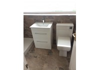 Reflections SQ Vanity Basin and Slimline Toilet Set with Key Stone Stone Tiles
