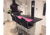 Connoisseur Glacier White Gloss with Black Mirror Quartz Worktops