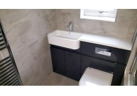 Fitted Bath with Shower and Vanity Units