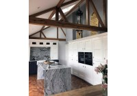 Connoisseur Langton White & Graphite with Cosmic White Worktops