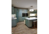 Conoisseur glacier blue metallic doors with white mirror quartz work surfaces
