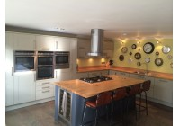 Signature Painted Charcoal & Linen with Oak Worktops