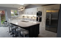 Connoisseur Milbourne Chalk & Charcoal with Lagoon Silestone Worktops